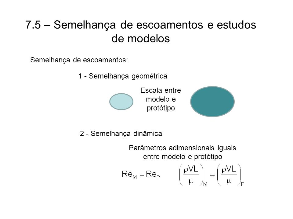 7.5 – Semelhança de escoamentos e estudos de modelos