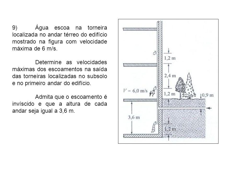 9) Água escoa na torneira localizada no andar térreo do edifício mostrado na figura com velocidade máxima de 6 m/s.