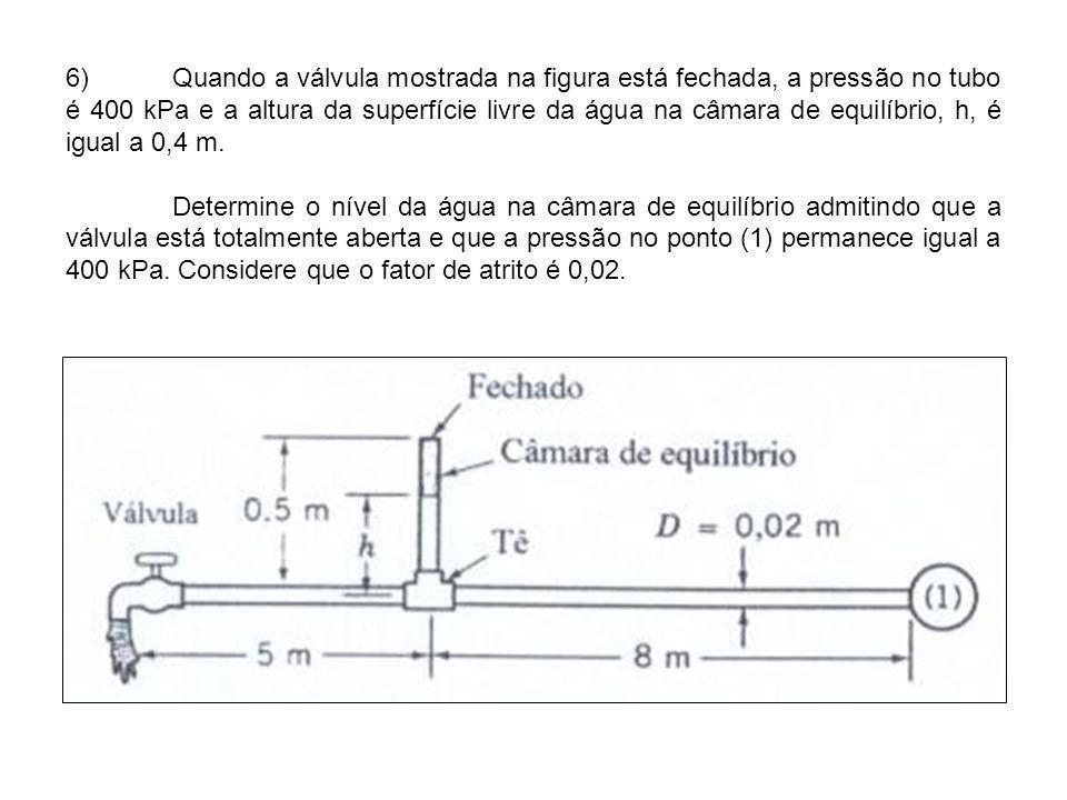 6) Quando a válvula mostrada na figura está fechada, a pressão no tubo é 400 kPa e a altura da superfície livre da água na câmara de equilíbrio, h, é igual a 0,4 m.