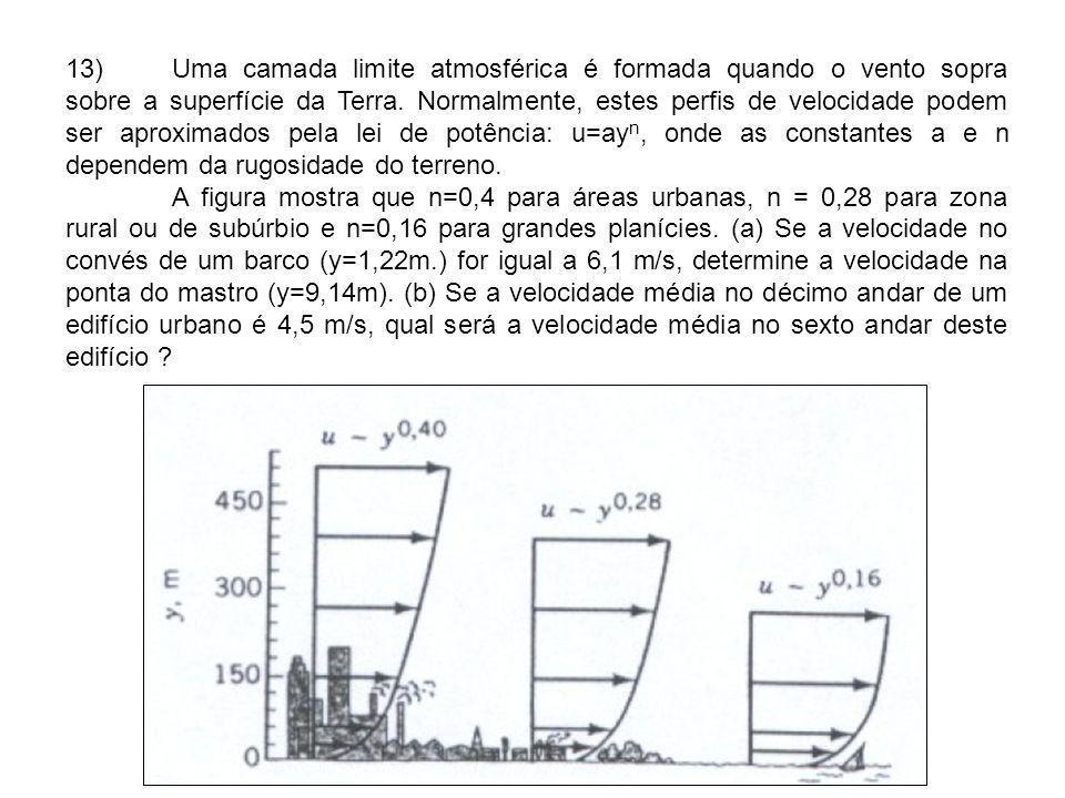 13) Uma camada limite atmosférica é formada quando o vento sopra sobre a superfície da Terra. Normalmente, estes perfis de velocidade podem ser aproximados pela lei de potência: u=ayn, onde as constantes a e n dependem da rugosidade do terreno.