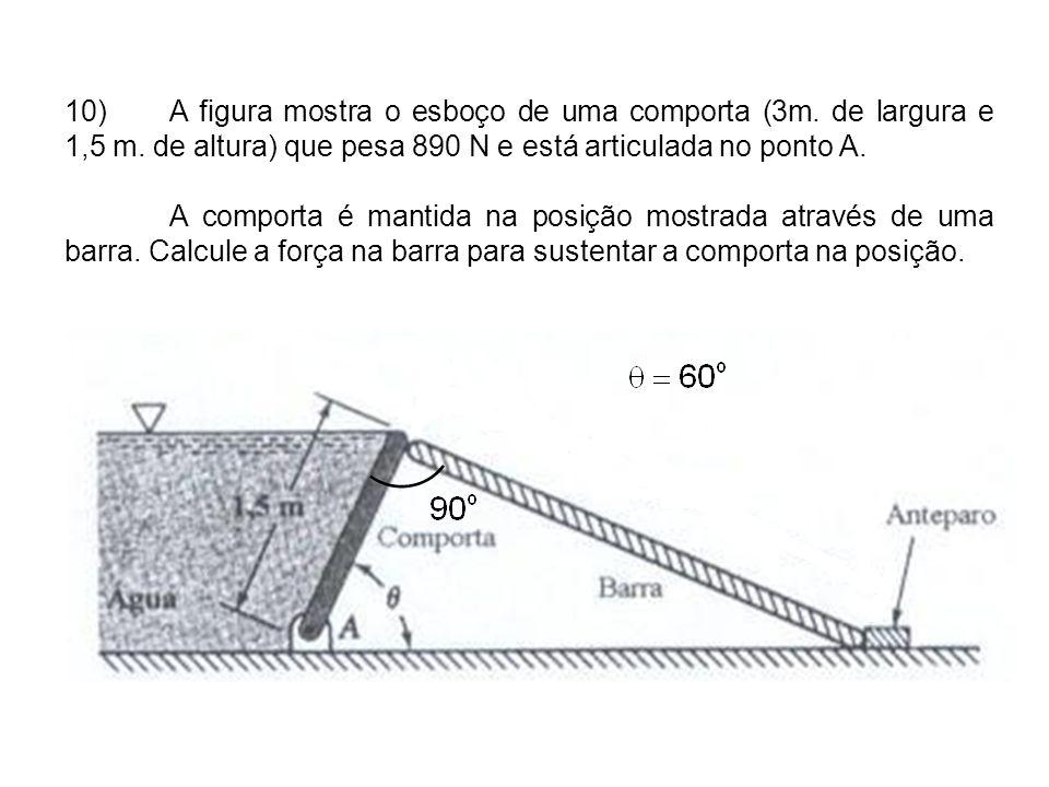10). A figura mostra o esboço de uma comporta (3m. de largura e 1,5 m