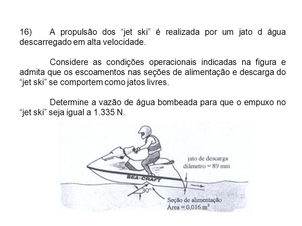 16) A propulsão dos jet ski é realizada por um jato d água descarregado em alta velocidade.