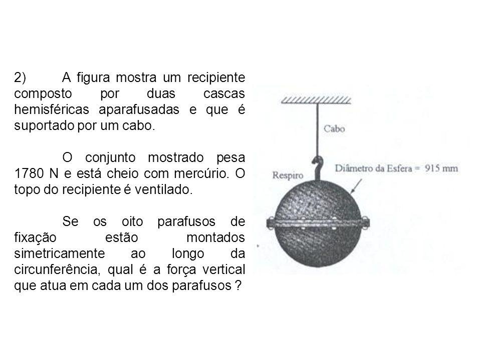 2) A figura mostra um recipiente composto por duas cascas hemisféricas aparafusadas e que é suportado por um cabo.