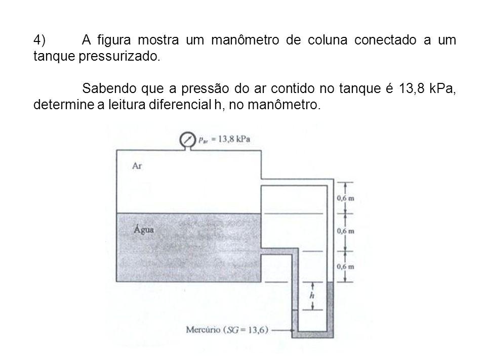 4) A figura mostra um manômetro de coluna conectado a um tanque pressurizado.