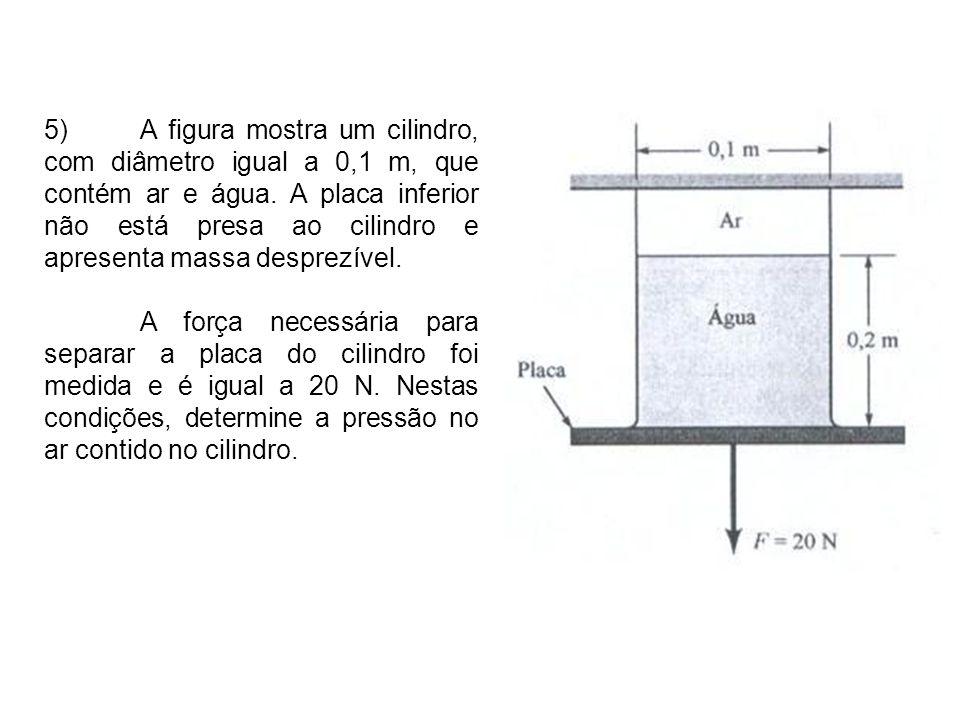 5) A figura mostra um cilindro, com diâmetro igual a 0,1 m, que contém ar e água. A placa inferior não está presa ao cilindro e apresenta massa desprezível.
