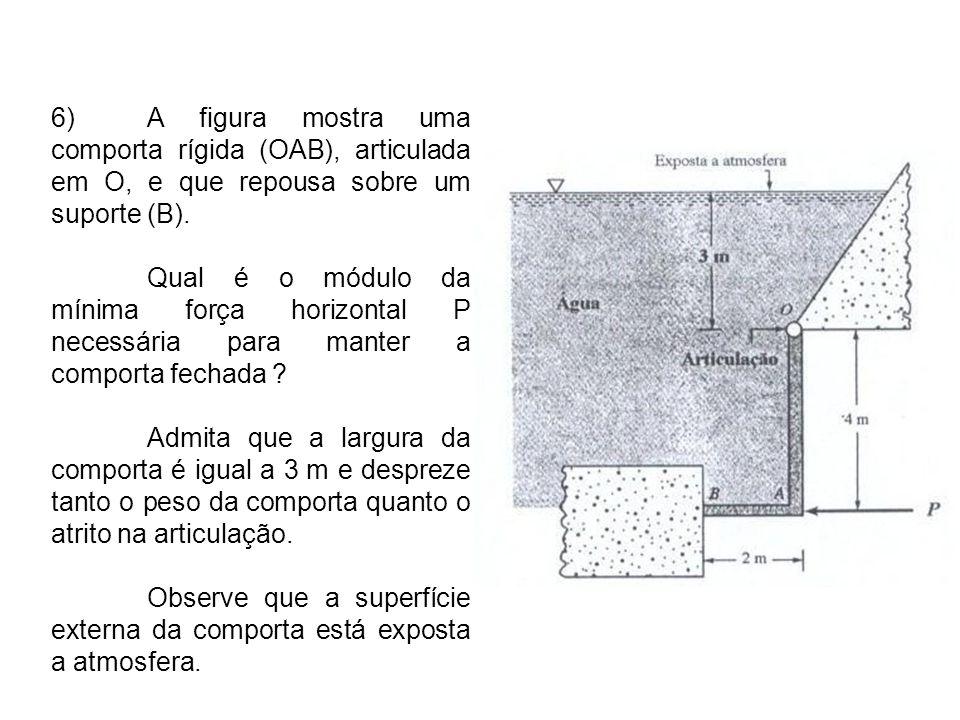 6) A figura mostra uma comporta rígida (OAB), articulada em O, e que repousa sobre um suporte (B).