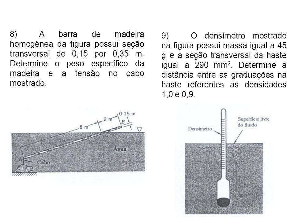 8) A barra de madeira homogênea da figura possui seção transversal de 0,15 por 0,35 m. Determine o peso específico da madeira e a tensão no cabo mostrado.