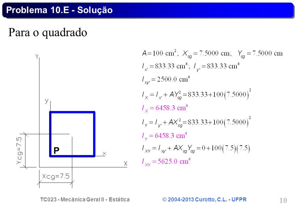 Problema 10.E - Solução Para o quadrado P