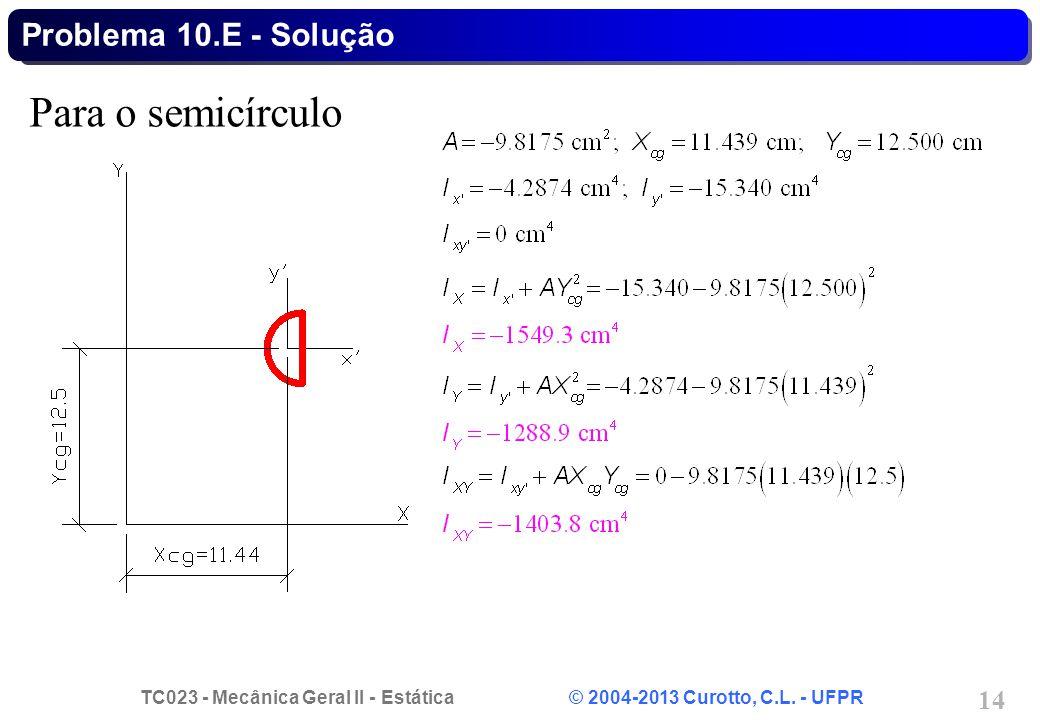 Problema 10.E - Solução Para o semicírculo