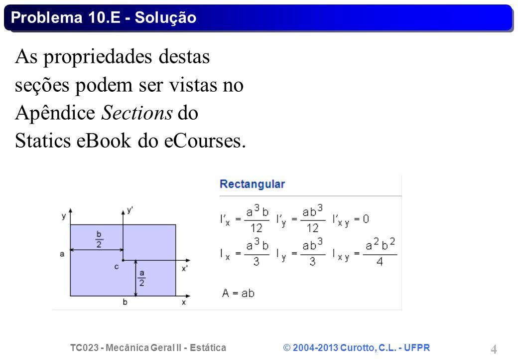 Problema 10.E - Solução As propriedades destas seções podem ser vistas no Apêndice Sections do Statics eBook do eCourses.