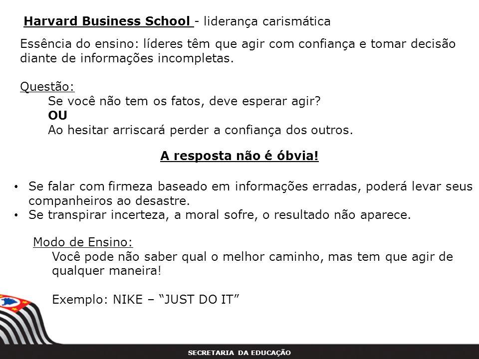 Harvard Business School - liderança carismática
