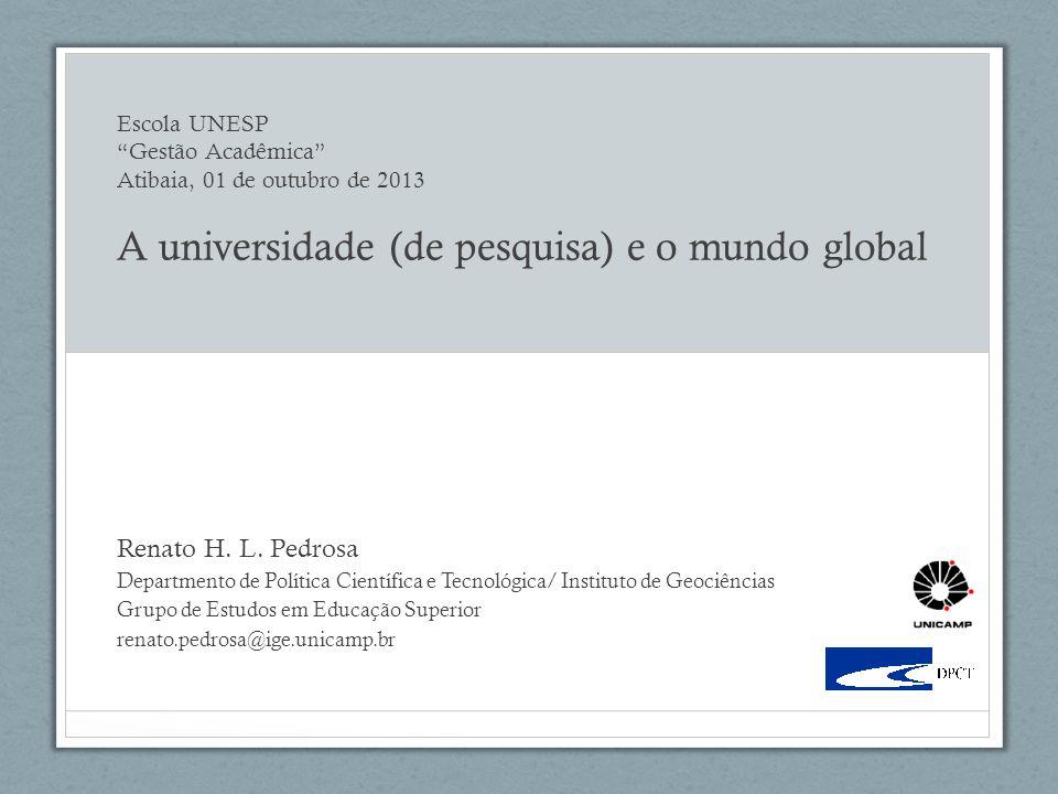 Escola UNESP Gestão Acadêmica Atibaia, 01 de outubro de 2013 A universidade (de pesquisa) e o mundo global