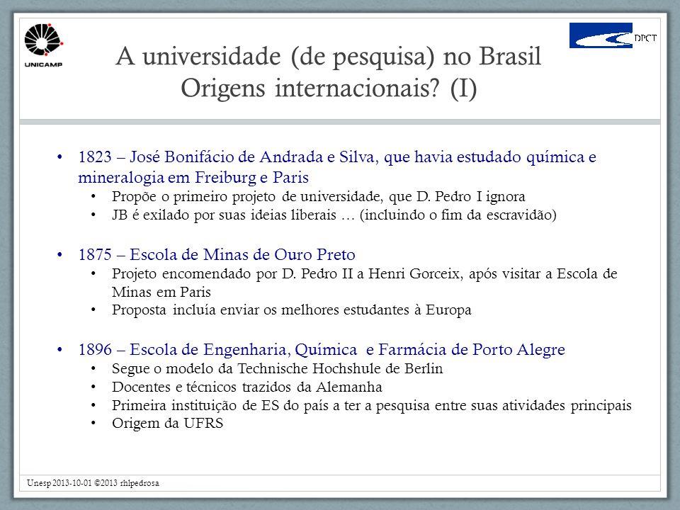 A universidade (de pesquisa) no Brasil Origens internacionais (I)