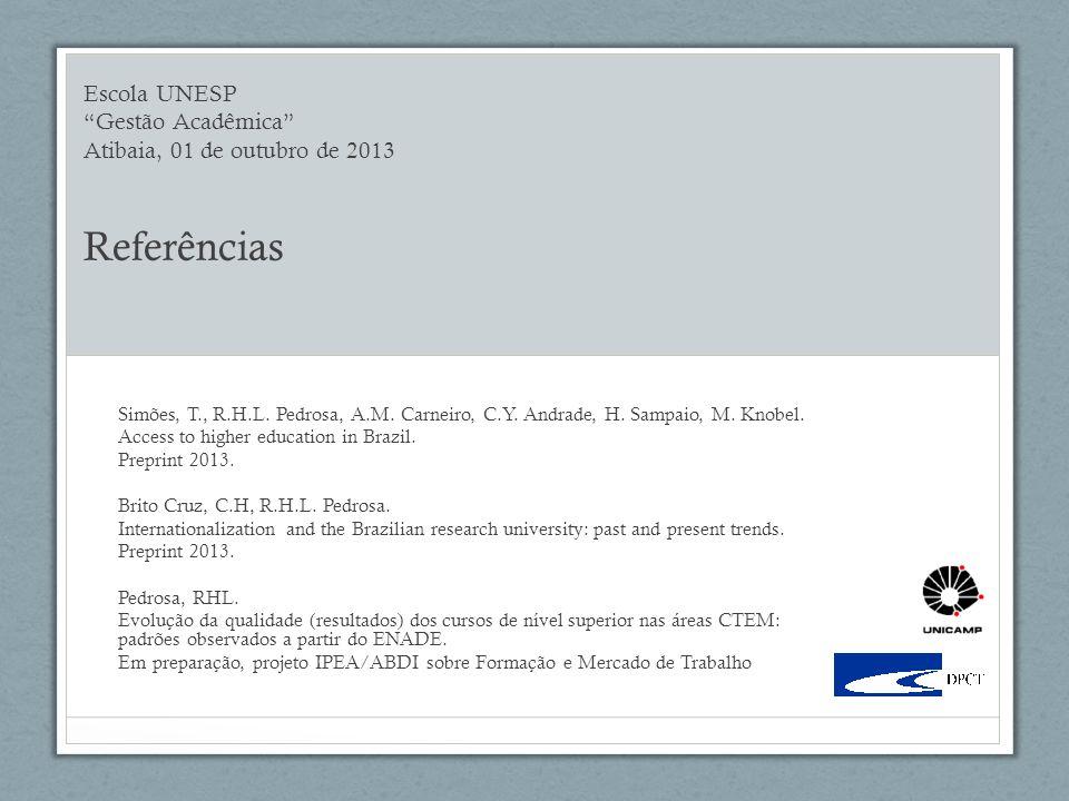 Escola UNESP Gestão Acadêmica Atibaia, 01 de outubro de 2013 Referências