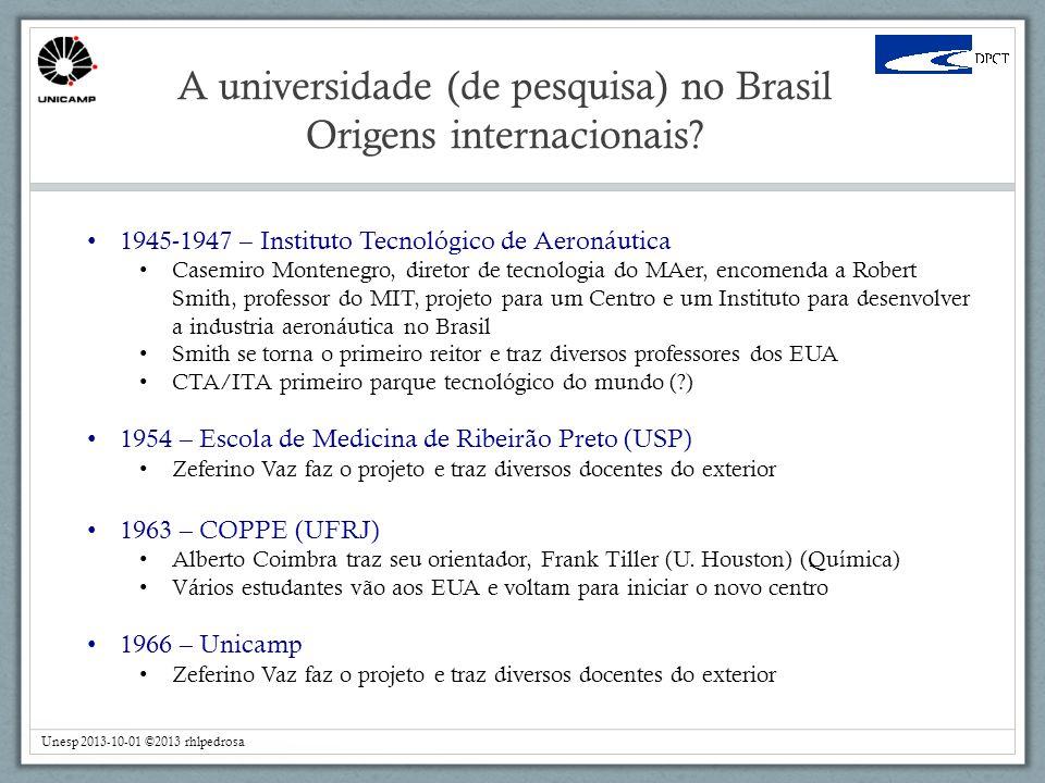 A universidade (de pesquisa) no Brasil Origens internacionais