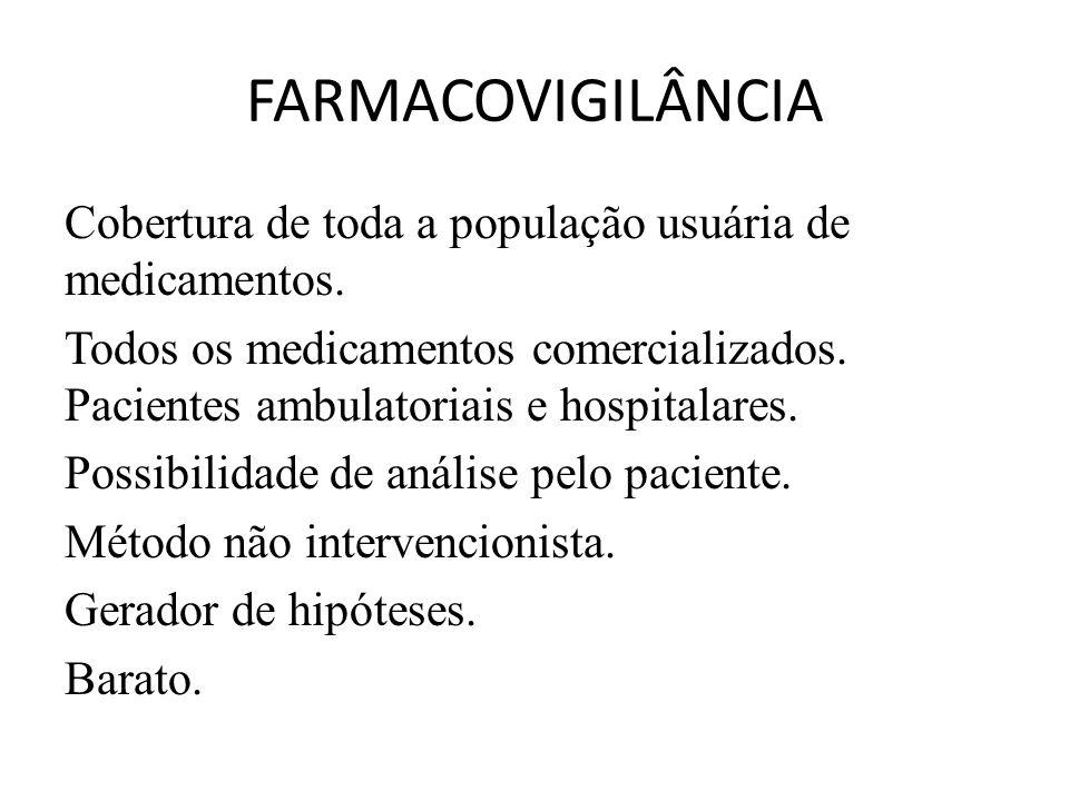 FARMACOVIGILÂNCIA Cobertura de toda a população usuária de medicamentos.