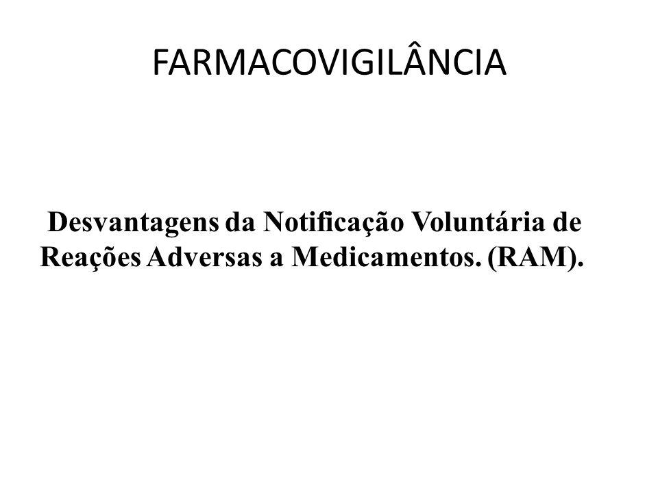 FARMACOVIGILÂNCIA Desvantagens da Notificação Voluntária de Reações Adversas a Medicamentos.