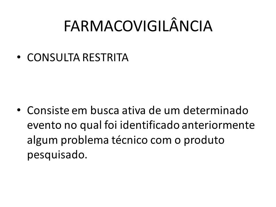 FARMACOVIGILÂNCIA CONSULTA RESTRITA