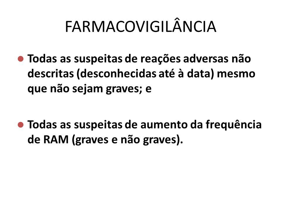FARMACOVIGILÂNCIA Todas as suspeitas de reações adversas não descritas (desconhecidas até à data) mesmo que não sejam graves; e.