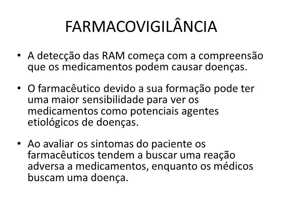 FARMACOVIGILÂNCIA A detecção das RAM começa com a compreensão que os medicamentos podem causar doenças.