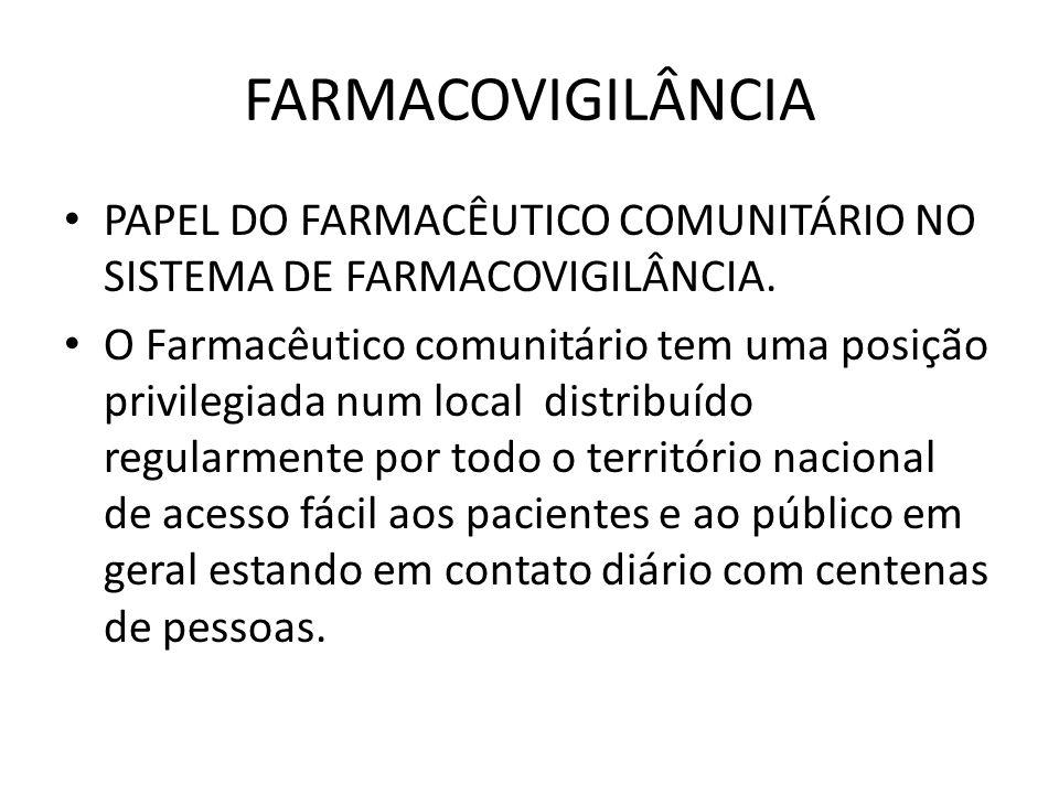 FARMACOVIGILÂNCIA PAPEL DO FARMACÊUTICO COMUNITÁRIO NO SISTEMA DE FARMACOVIGILÂNCIA.
