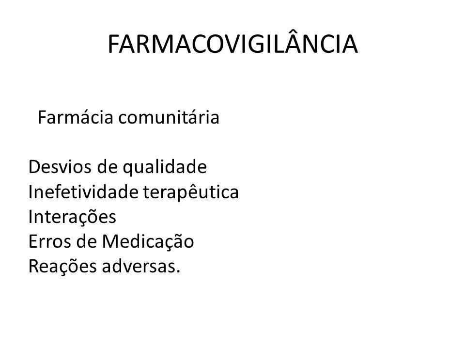 FARMACOVIGILÂNCIA Farmácia comunitária Desvios de qualidade
