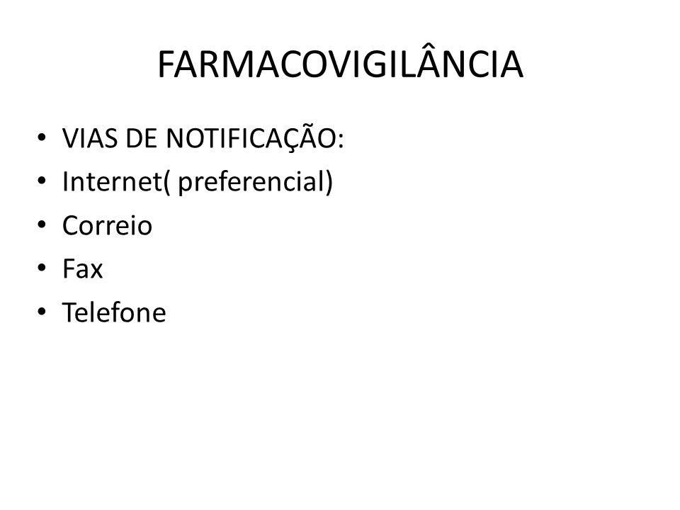 FARMACOVIGILÂNCIA VIAS DE NOTIFICAÇÃO: Internet( preferencial) Correio