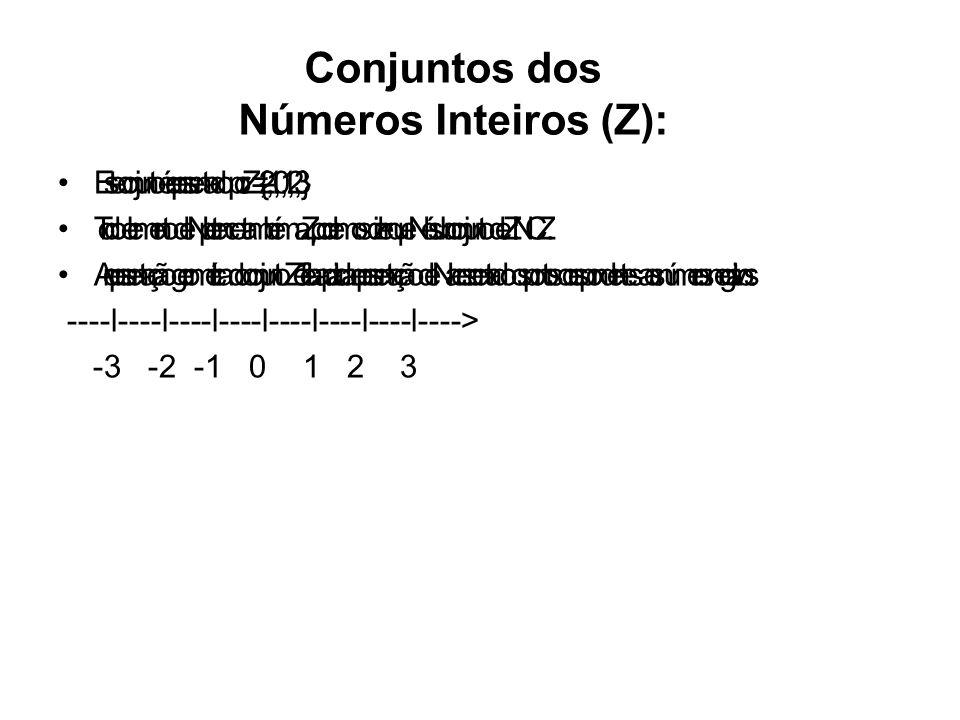 Conjuntos dos Números Inteiros (Z):