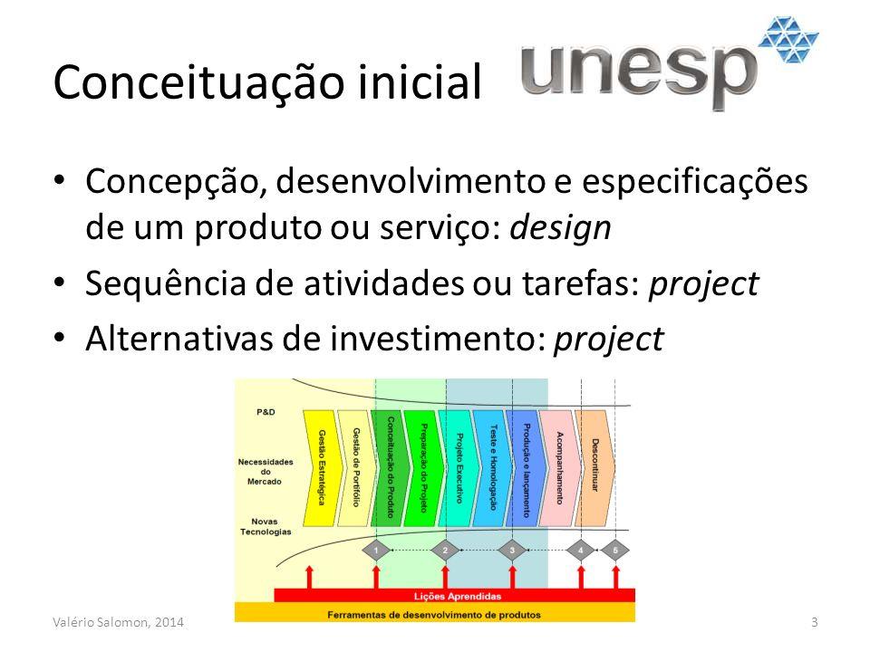 Conceituação inicial Concepção, desenvolvimento e especificações de um produto ou serviço: design. Sequência de atividades ou tarefas: project.