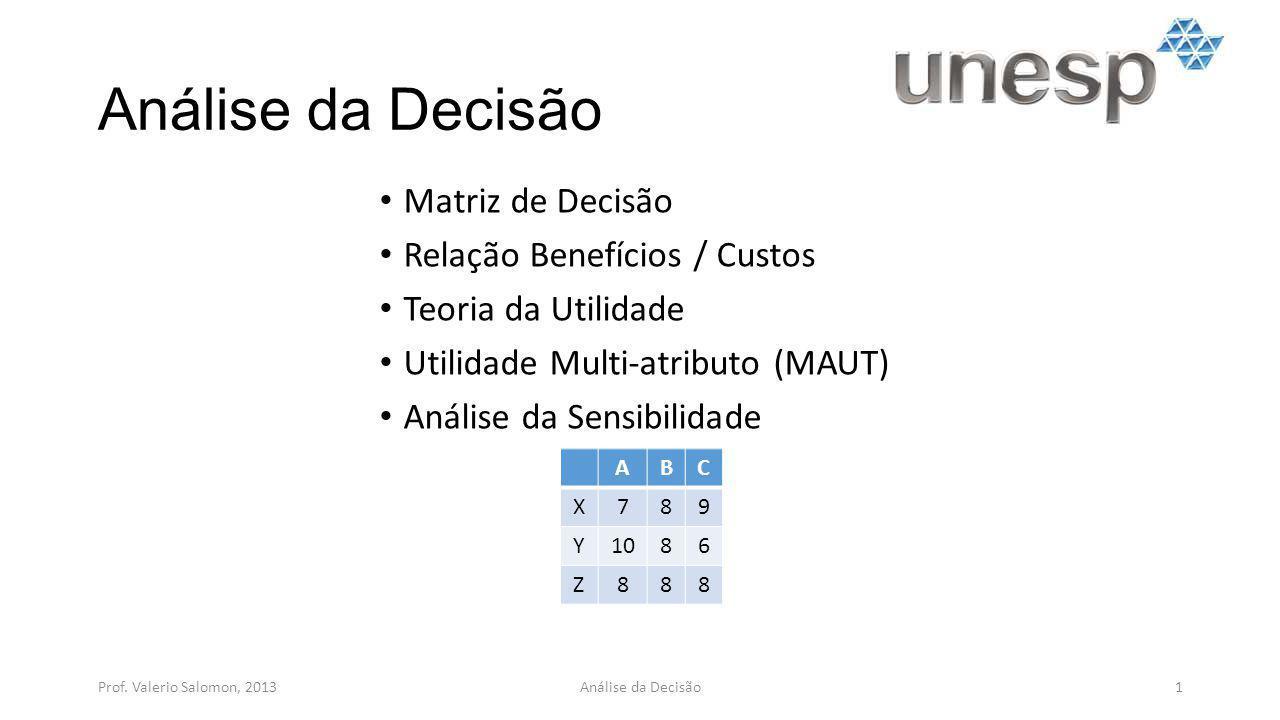 Análise da Decisão Matriz de Decisão Relação Benefícios / Custos