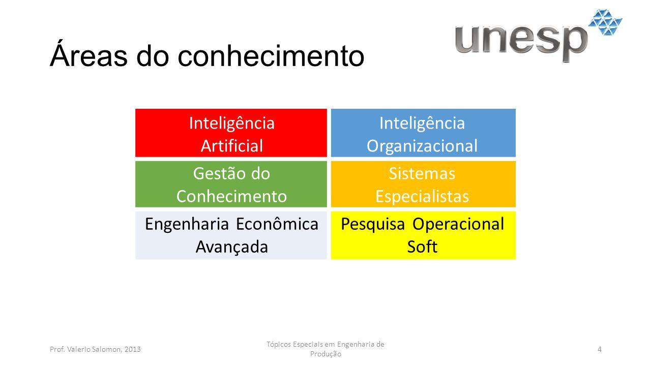 Áreas do conhecimento Inteligência Artificial Organizacional
