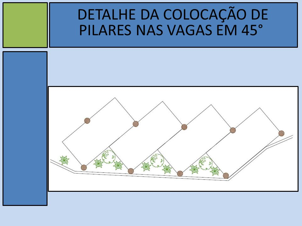 DETALHE DA COLOCAÇÃO DE PILARES NAS VAGAS EM 45°