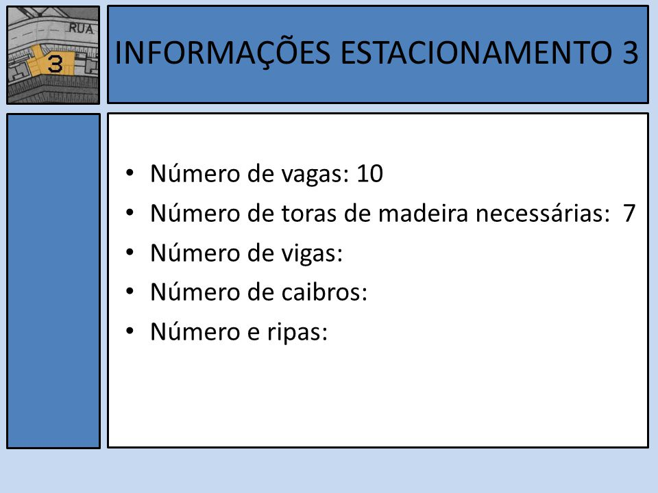 INFORMAÇÕES ESTACIONAMENTO 3