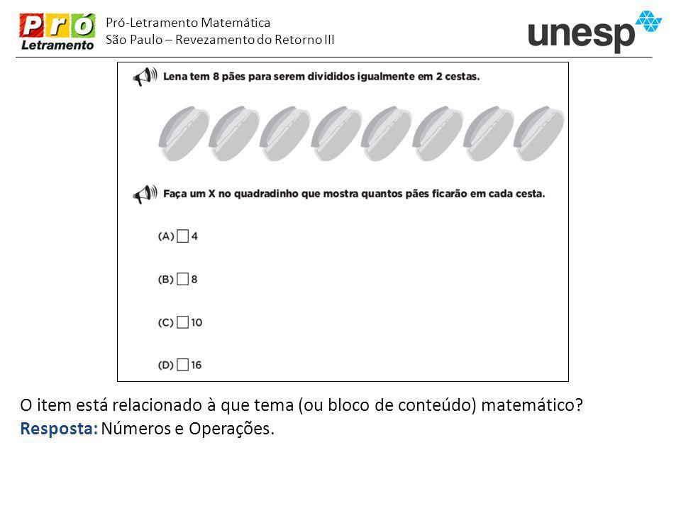 O item está relacionado à que tema (ou bloco de conteúdo) matemático
