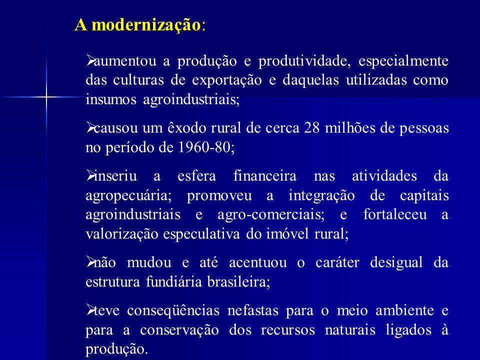 A modernização: aumentou a produção e produtividade, especialmente das culturas de exportação e daquelas utilizadas como insumos agroindustriais;