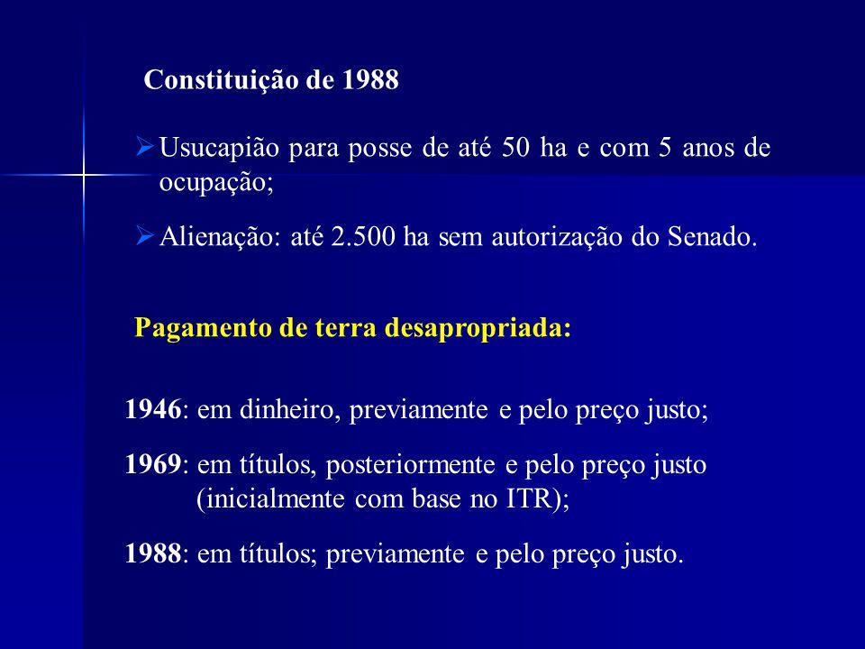 Constituição de 1988 Usucapião para posse de até 50 ha e com 5 anos de ocupação; Alienação: até 2.500 ha sem autorização do Senado.