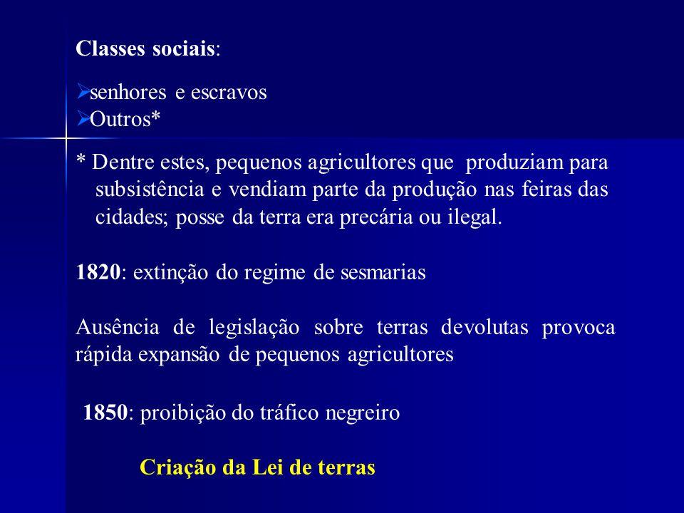 Classes sociais: senhores e escravos. Outros*