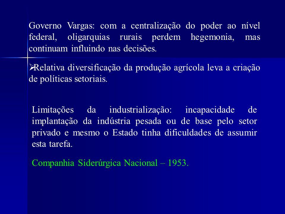 Governo Vargas: com a centralização do poder ao nível federal, oligarquias rurais perdem hegemonia, mas continuam influindo nas decisões.