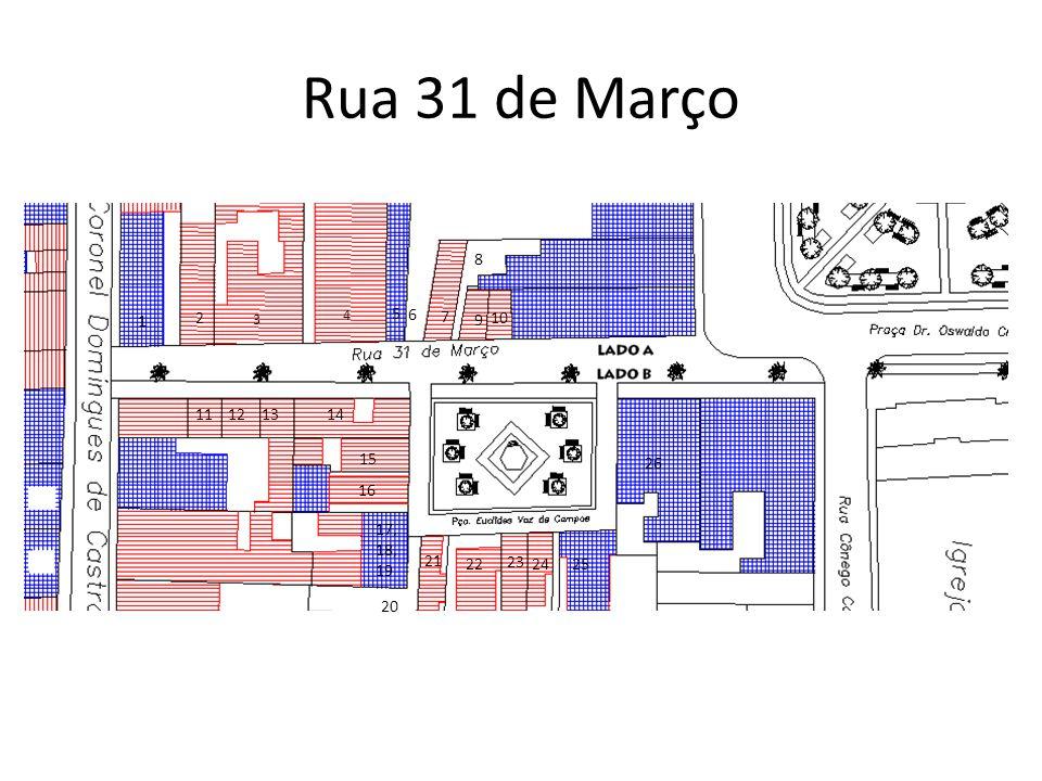 Rua 31 de Março 8 2 3 4 5 1 6 7 9 10 11 12 13 14 15 26 16 17,18,19 21 22 23 24 25 20