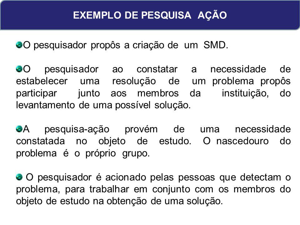 EXEMPLO DE PESQUISA AÇÃO