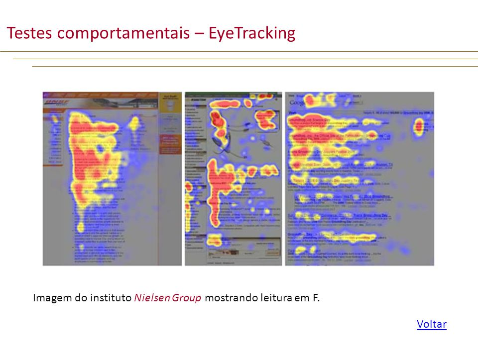 Testes comportamentais – EyeTracking