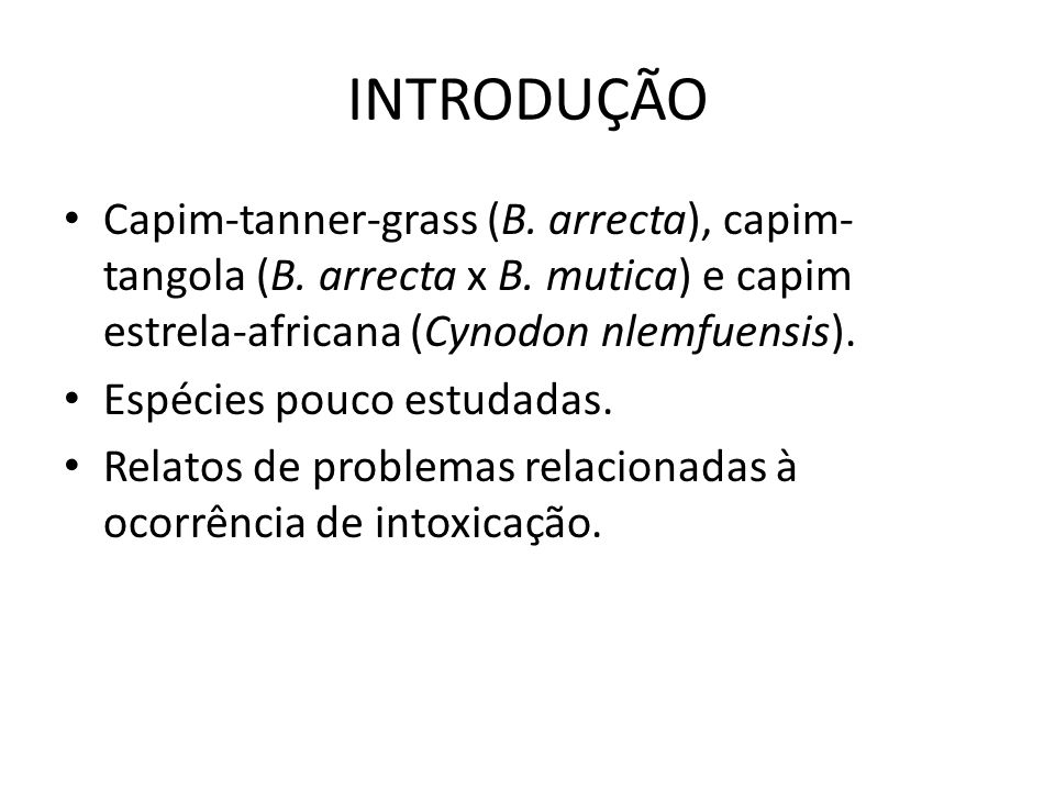 INTRODUÇÃO Capim-tanner-grass (B. arrecta), capim-tangola (B. arrecta x B. mutica) e capim estrela-africana (Cynodon nlemfuensis).