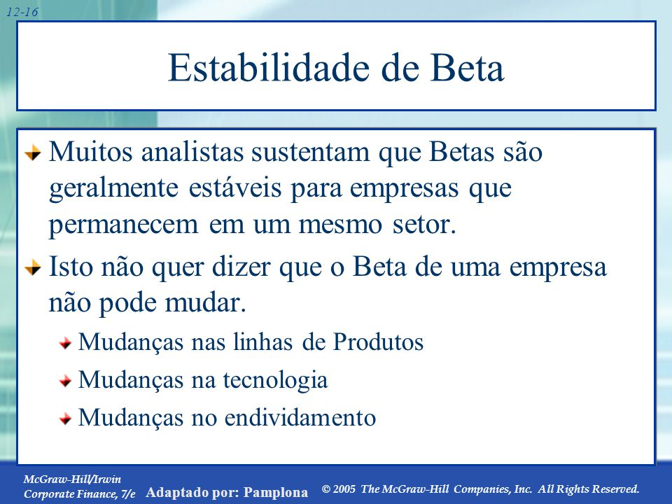 Estabilidade de Beta . Beta=1,10 Beta=1,04 Beta=1,14 Beta=1,22 GE GE