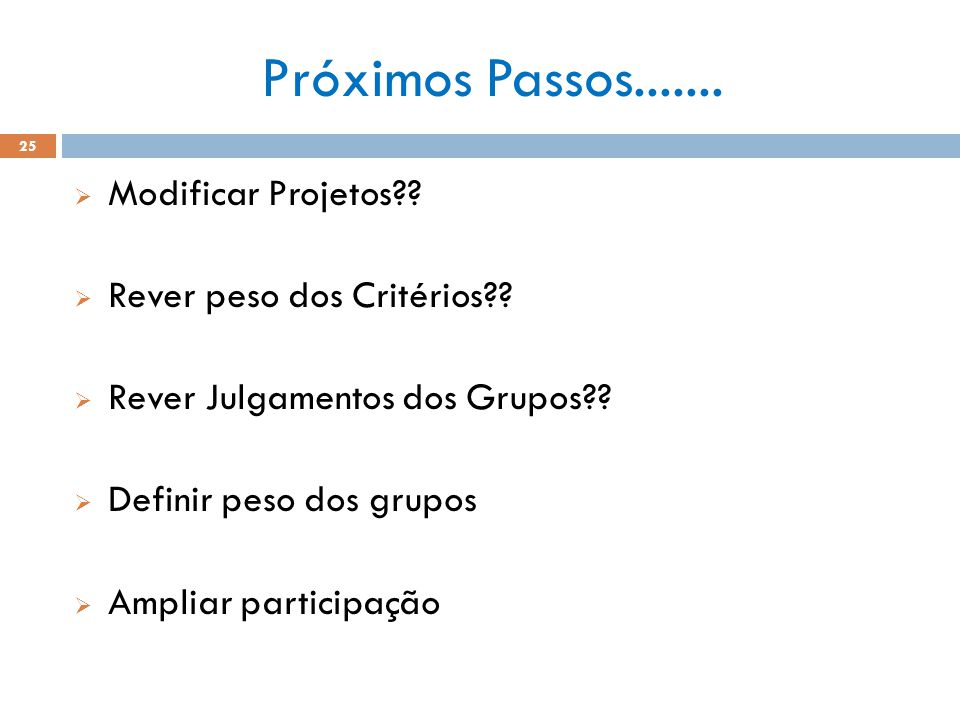 Próximos Passos....... Modificar Projetos Rever peso dos Critérios