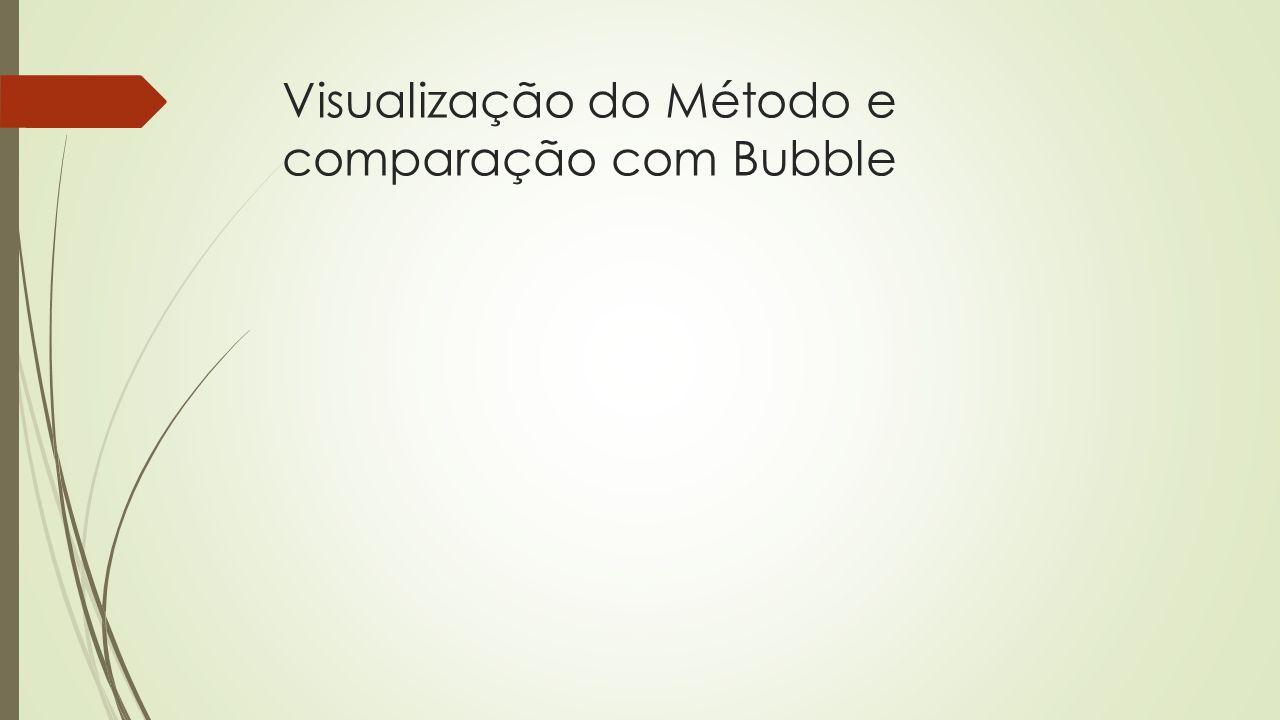 Visualização do Método e comparação com Bubble