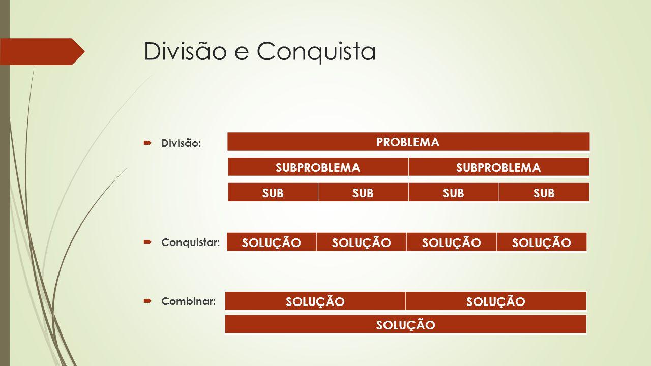 Divisão e Conquista PROBLEMA SUBPROBLEMA SUB SOLUÇÃO SOLUÇÃO SOLUÇÃO