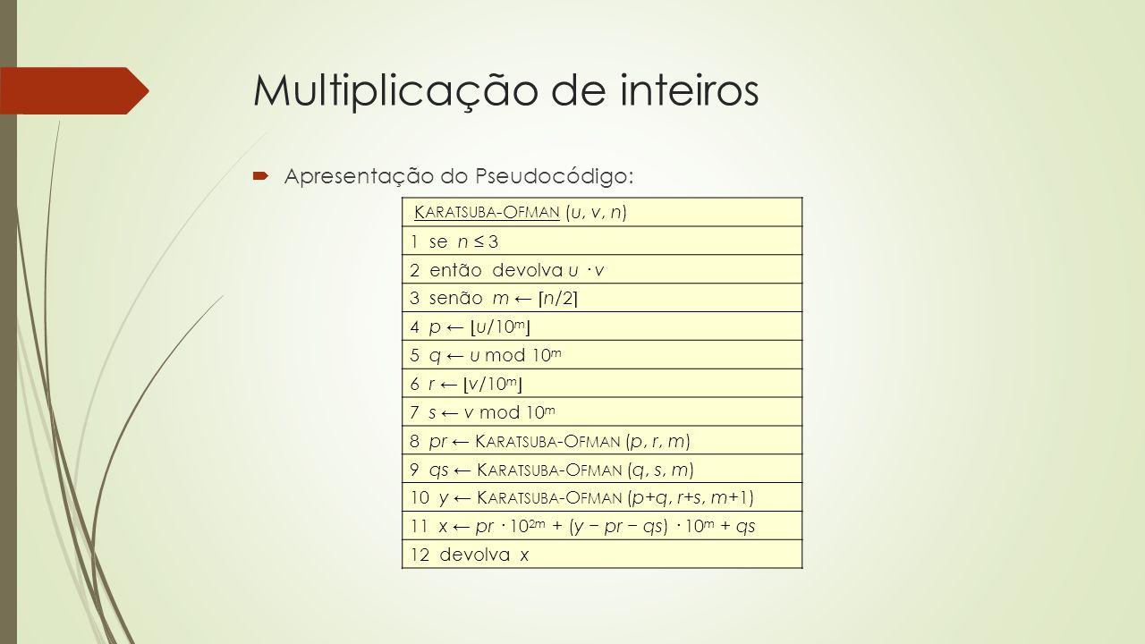 Multiplicação de inteiros