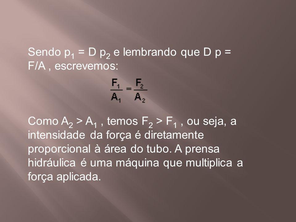 Sendo p1 = D p2 e lembrando que D p = F/A , escrevemos: