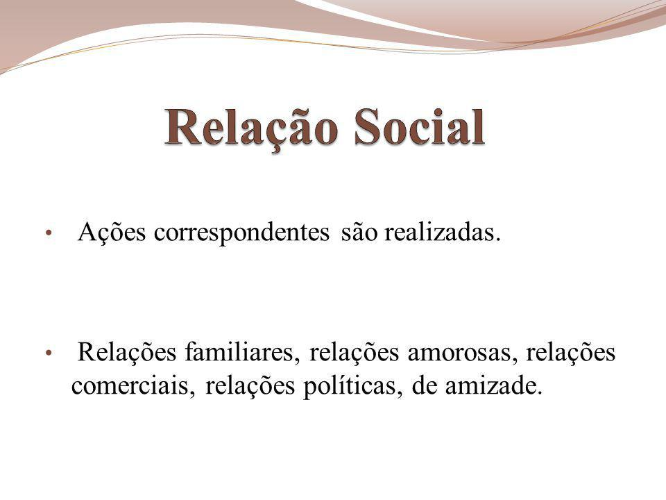 Relação Social comerciais, relações políticas, de amizade.