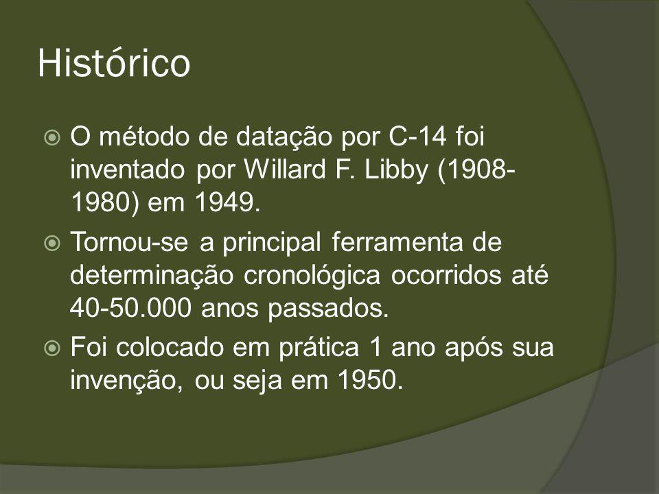 Histórico O método de datação por C-14 foi inventado por Willard F. Libby (1908-1980) em 1949.